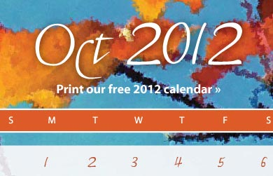 Free Printable 2012 Be Creative! 12-Month Creativity Coaching Calendar