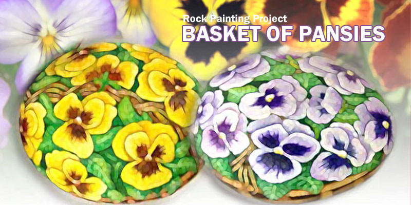 Rock Painting Pansies