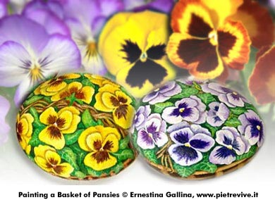 Painting a Basket of Pansies Project © Ernestina Gallina, www.pietrevive.it