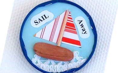 Sailboat Collage Art Magnet