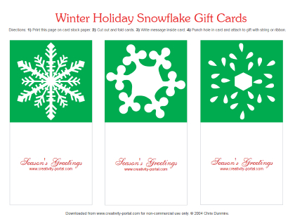 Green Snowflake Folding Cards