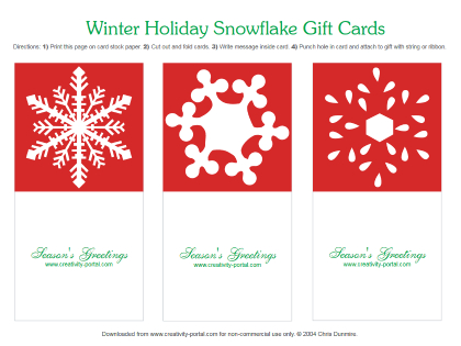 Red Snowflake Folding Cards