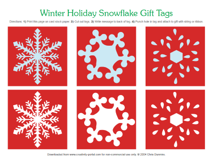 Red Snowflake Tags