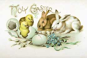 Easter Holiday Rabbit and Chicks Greeting Card