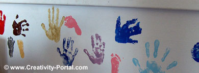 Children's paint hand prints